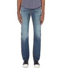 Armani Jeans J06 Slim Fit Tapered Distressed Jeans Denim