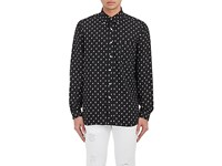 R 13 R13 Men's Skull Print Silk Shirt Black Cream