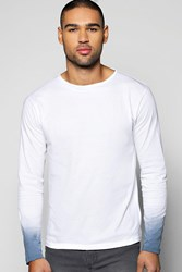 Boohoo Long Sleeve Dip Dye T Shirt White