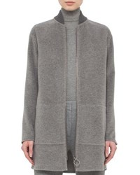 Akris Punto Baseball Collar Zip Front Coat Cliff