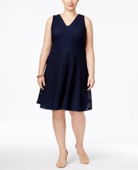 Charter Club Plus Size Lace Fit And Flare Dress Only At Macy's Intrepid Blue