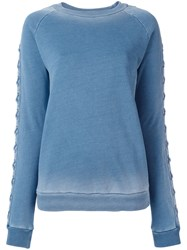 Balmain Lace Up Sleeve Sweatshirt Blue