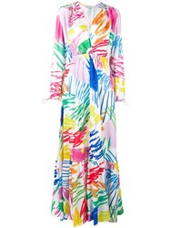 Mira Mikati Scribble Printed Ruched Waist Dress Pink And Purple