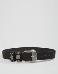Asos Studded Keeper Western Jeans Belt Black
