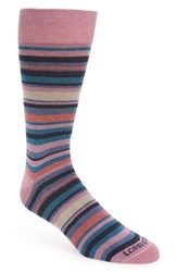 Lorenzo Uomo Stripe Cotton Blend Socks Pink