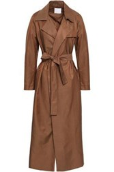 Christopher Esber Woman Belted Twill Trench Coat Chocolate