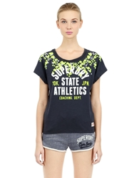 Superdry Athletics Printed Cotton T Shirt Blue Yellow