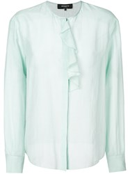 Rochas Ruffle Trim Blouse Cotton Silk Blue