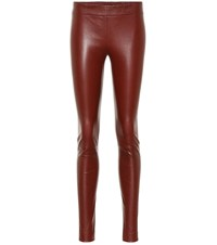 The Row Moto Leather Leggings Red