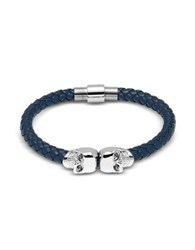 Northskull Denim Blue Nappa Leather W Silver Twin Skull Bracelet