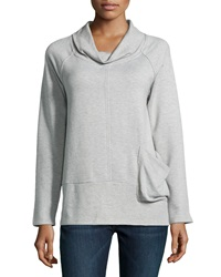 Neiman Marcus Side Pocket Cowl Neck Sweater Gray