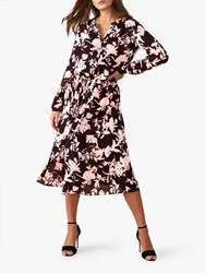 Pure Collection Floral Drawstring Dress Aubergine