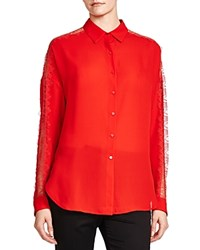 The Kooples Lace Detail Shirt Red