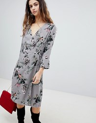 Soaked In Luxury Floral Wrap Dress Medium Grey
