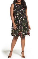 Tahari Plus Size Women's Floral Embroidered Shift Dress Black Lime Flame