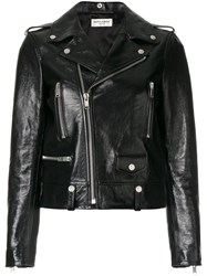 Saint Laurent Polished Classic Motorcycle Jacket Cotton Calf Leather Polyester Cupro Black