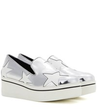 Stella Mccartney Star Binx Metallic Platform Loafers Silver