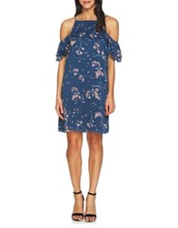 Cynthia Steffe Nika Cold Shoulder Floral Shift Dress Indigo Sky
