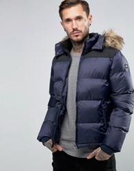 Schott Quilted Padded Jacket With Detachable Hood Navy