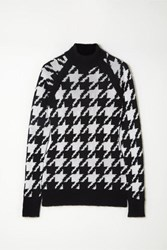 Balmain Button Embellished Houndstooth Knitted Sweater Black