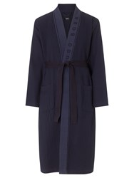Boss Logo Boss Waffle Cotton Mix Robe Navy