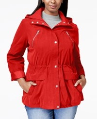 Nautica Plus Size Hooded Anorak Electric Red