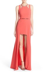 Women's Halston Heritage Sleeveless Crepe High Low Gown With Hardware Detail Coral