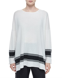 Eskandar Ribbon Striped Cashmere A Line Sweater