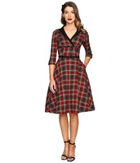 Unique Vintage Long Sleeve Collared Trudy Swing Dress Burgundy Black Plaid Women's Dress Brown