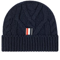 Thom Browne Aran Cable Donegal Knit Hat Blue