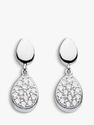 Kit Heath Cubic Zirconia Pebble Drop Earrings Silver