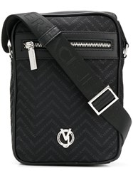 Versace Jeans Chevron Monogram Crossbody Bag Black