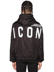 Dsquared Hooded Print Icon Logo Nylon Jacket Black