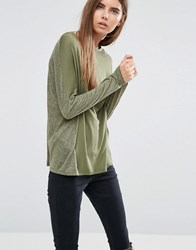 Asos Linen Mix T Shirt With Long Sleeves Khaki Green