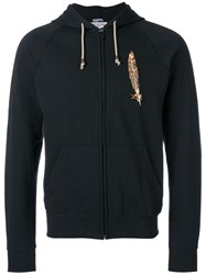 History Repeats Embroidered Zipped Hoodie Black