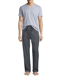 Neiman Marcus Two Piece Flannel Pajama Gift Set Gray