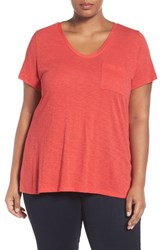 Caslonr Plus Size Women's Caslon Rounded V Neck Tee Red Saucy