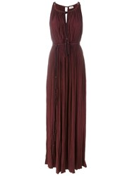 Lanvin Pleated Maxi Dress Pink And Purple