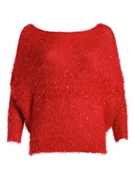 Pussycat Sequin And Eyelash Soft Jumper Red