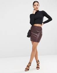Asos Leather Look Mini Skirt With 80'S Waist Oxblood Red