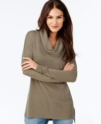 Inc International Concepts Petite Waffle Knit Cowl Neck Tunic Only At Macy's Olive Drab
