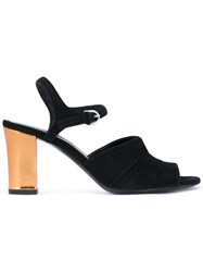 Jil Sander Wide Strap Sandals Women Leather Suede 37 Black