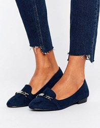 Oasis Slip On Loafers With Metal Bar Navy