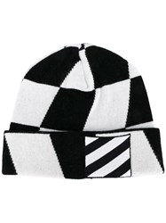 Off White Checked Beanie Black