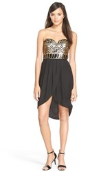 Junior Women's As U Wish Strapless Sequin Bodice Tulip Dress