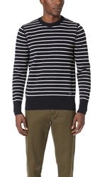 Ami Alexandre Mattiussi Crew Neck Striped Sweater Navy Off White
