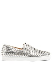 Christian Louboutin Roller Boat Spike Embellished Slip On Trainers Silver