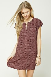 Forever 21 Kaleidoscope Print Shift Dress Burgundy Tan
