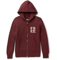 Visvim Appliqued Loopback Cotton Blend Jersey Zip Up Hoodie Burgundy