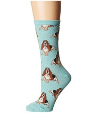 Socksmith Nothing But A Hound Dog Heather Mint Women's Crew Cut Socks Shoes Green